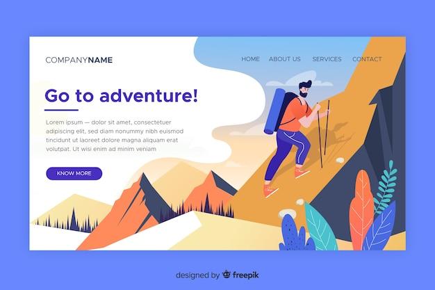 Modèle D'aventure De Page De Destination Vecteur gratuit