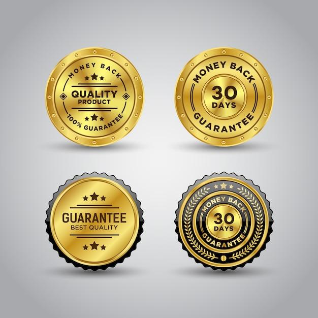 Modèle De Badge Or Garantie De Remboursement Vecteur Premium