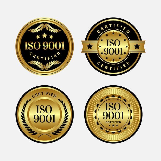 Modèle De Badges De Certification Iso Vecteur Premium