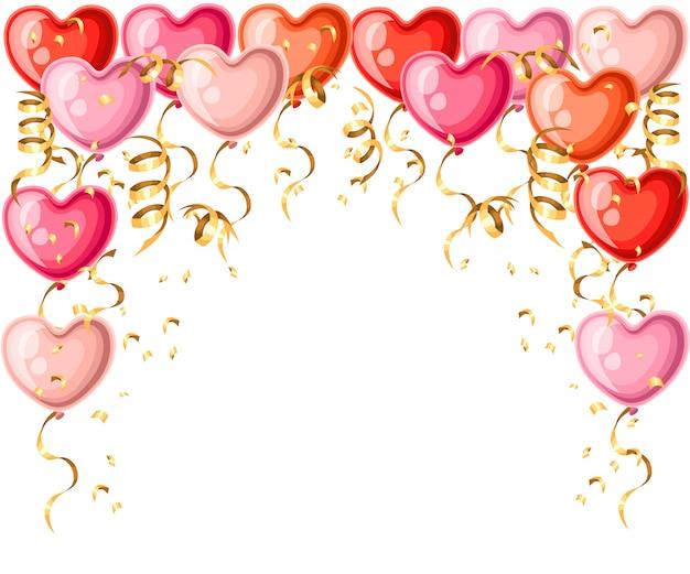 Modèle De Ballons En Forme De Coeur Avec Des Rubans Dorés Illustration De Ballon De Différentes Couleurs Sur La Page Du Site Web Fond Blanc Et Application Mobile Vecteur Premium