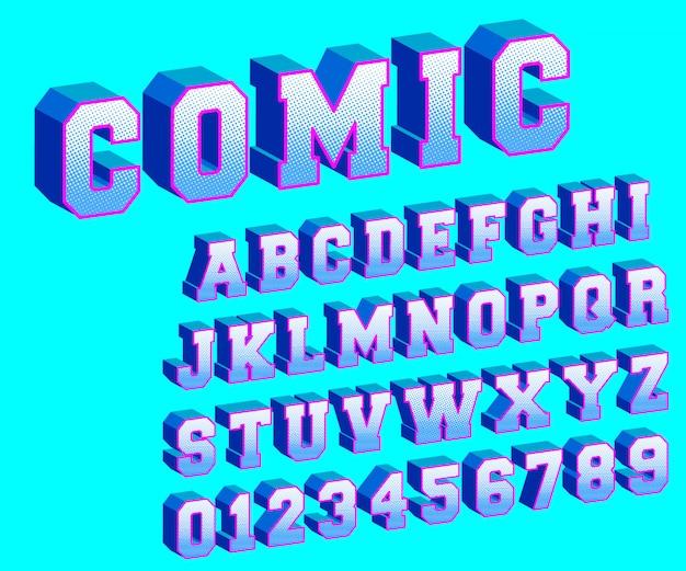 Modèle de bande dessinée alphabet demi-teinte Vecteur Premium
