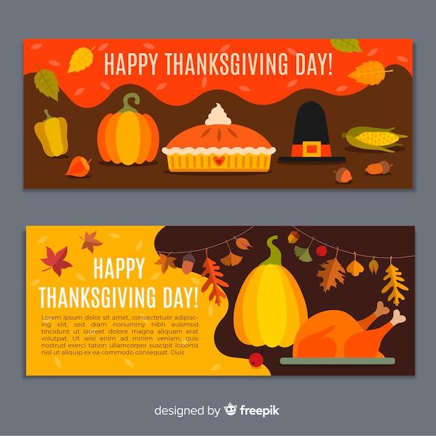 Modèle De Bannersa Design Plat Thanksgiving Vecteur gratuit