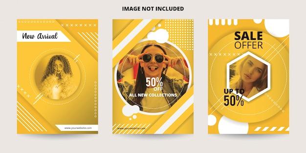 Modèle de bannière abstrait dynamique vente jaune Vecteur Premium