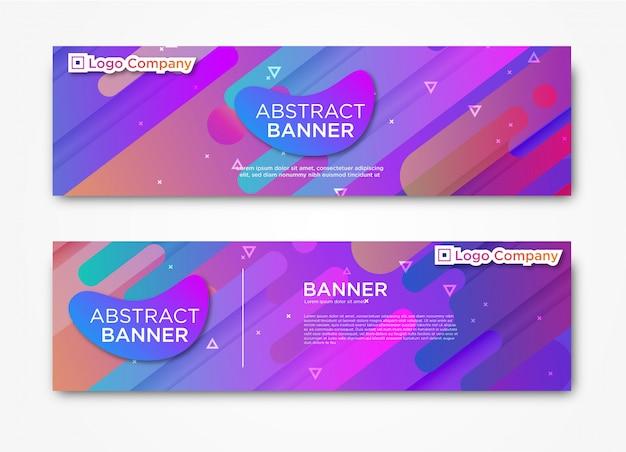 Modèle de bannière abstraite web moderne horizontale avec dégradé Vecteur Premium