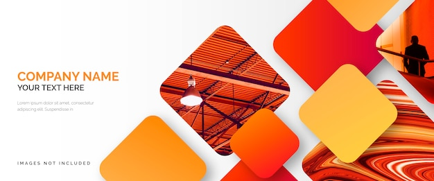Modèle de bannière d'affaires élégant avec des formes rouges Vecteur gratuit