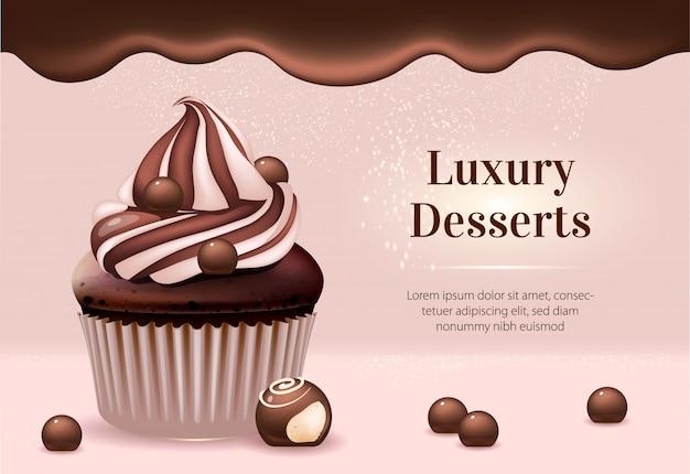 Modèle De Bannière D'annonces De Produits Réalistes De Desserts De Luxe Vecteur Premium
