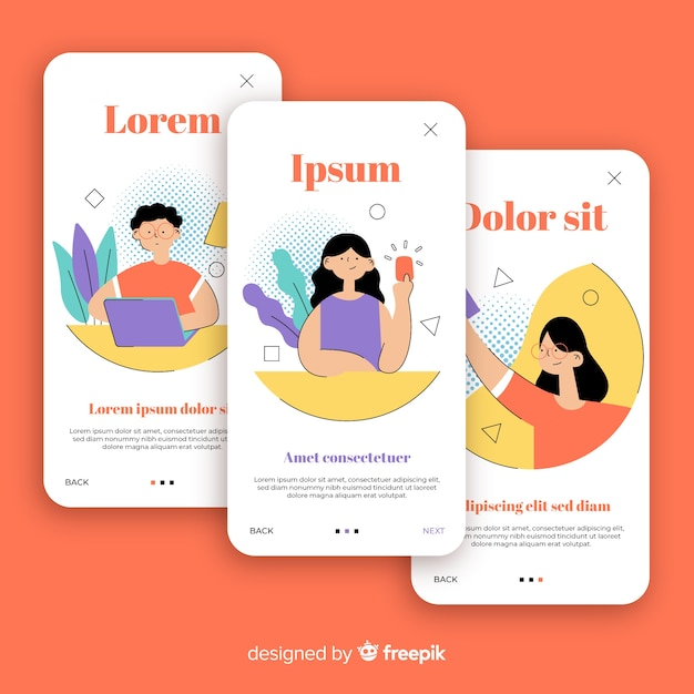 Modèle de bannière d'application mobile dessiné à la main Vecteur gratuit