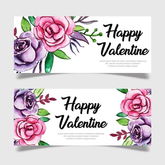 Modèle De Bannière Aquarelle Valentine Vecteur Premium