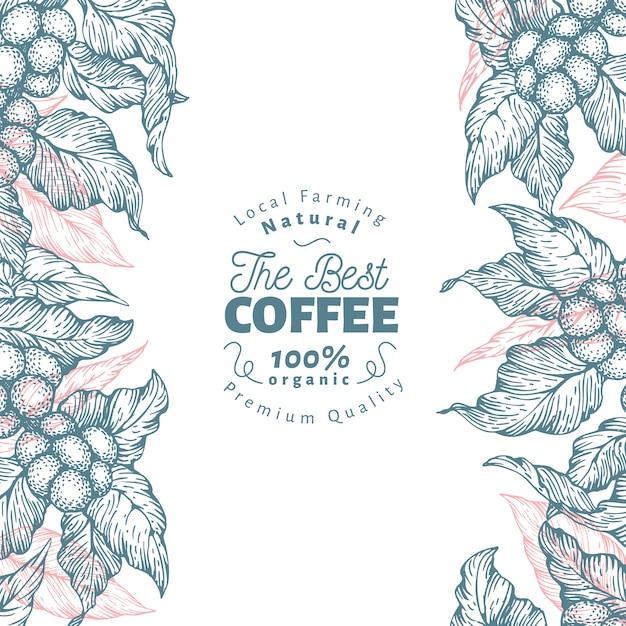 Modèle de bannière de caféier. illustration vectorielle fond de café rétro. Vecteur Premium