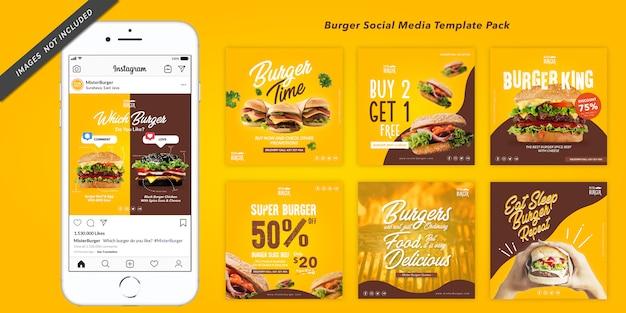 Modèle De Bannière Carrée Burger Pour Instagram Vecteur Premium