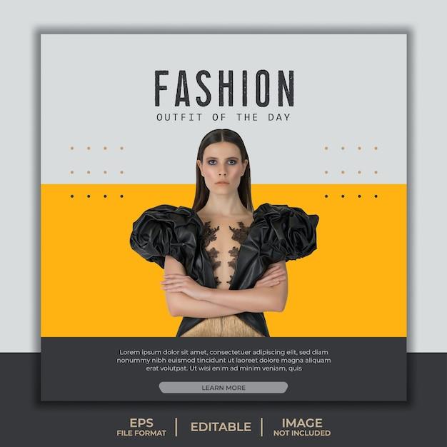 Modèle De Bannière Carrée Pour Instagram, Modèle De Conception De Mode Jaune Avec Beau Modèle élégant Vecteur Premium