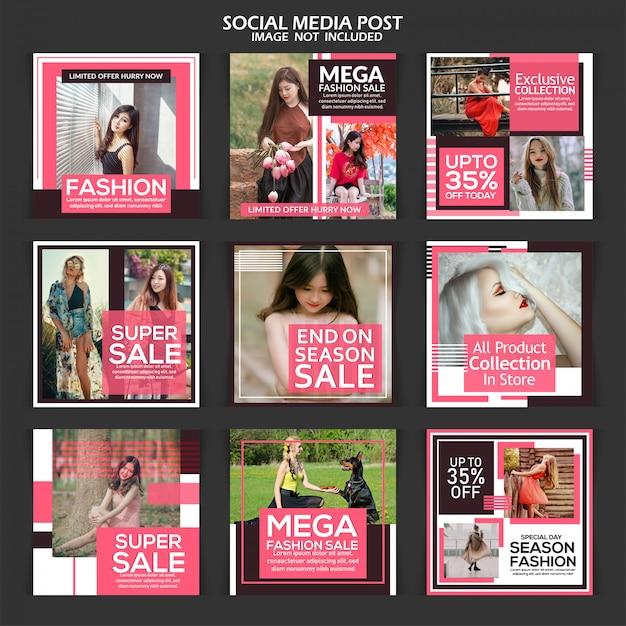 Modèle de bannière carrée vente médias sociaux créatifs Vecteur Premium