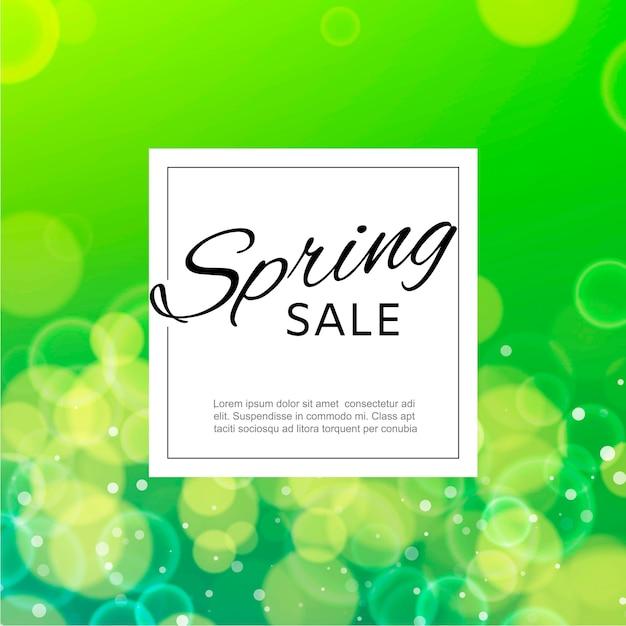 Modèle de bannière carrée vente printemps avec des bulles de flou aquarelle verte Vecteur Premium