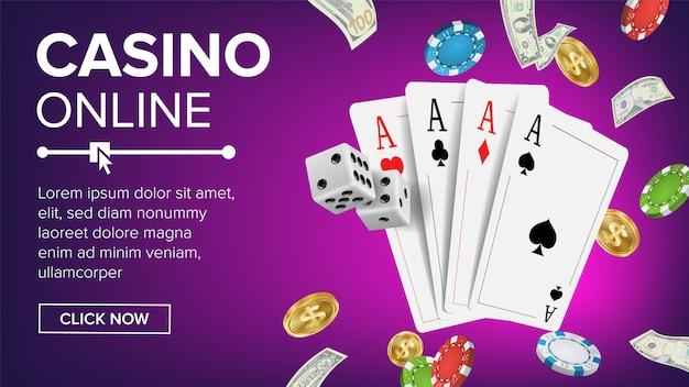 Modèle de bannière casino poker design Vecteur Premium