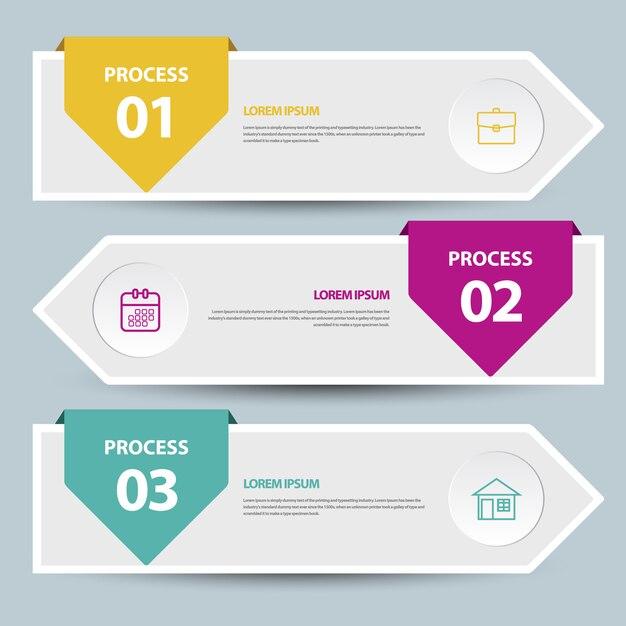 Modèle de bannière de chronologie d'infographie Vecteur Premium
