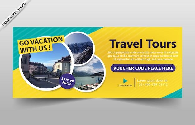 Modèle de bannière de circuit de voyage pour site web et coupon Vecteur Premium
