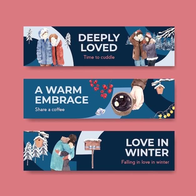 Modèle De Bannière Avec Conception De Concept D'amour D'hiver Pour La Publicité Et Le Marketing Illustration Vectorielle Aquarelle Vecteur gratuit