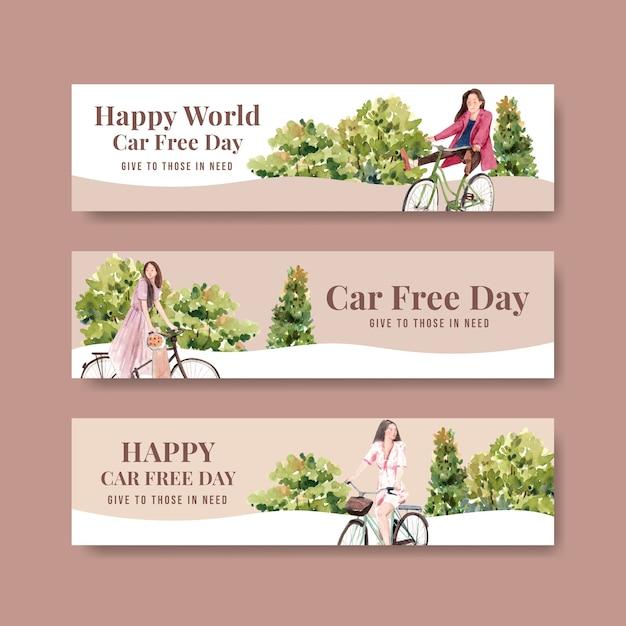 Modèle De Bannière Avec La Conception De Concept De La Journée Mondiale Sans Voiture Pour La Publicité Et L'aquarelle De Brochure. Vecteur gratuit
