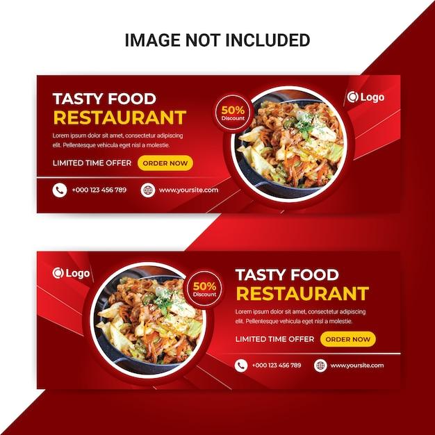 Modèle De Bannière De Couverture Facebook De Nourriture Délicieuse Pour Restaurant Vecteur Premium