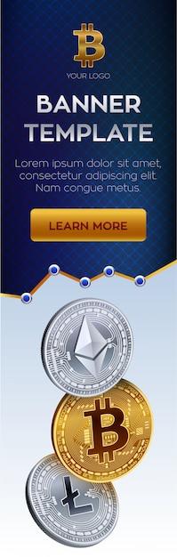 Modèle De Bannière De Crypto-monnaie. Bitcoin, Ethereum, Pièces D'or Litecoin. Vecteur gratuit