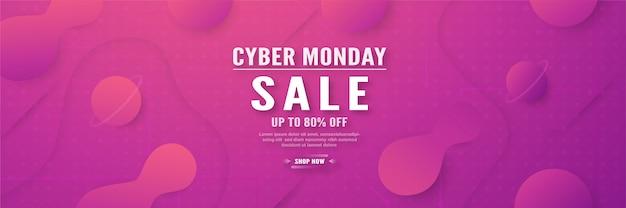Modèle de bannière de cyber lundi. Vecteur Premium