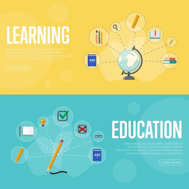 Modèle De Bannière De L'éducation Infographie Concept Vecteur Premium