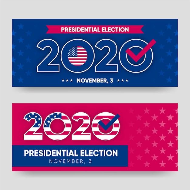Modèle De Bannière De L'élection Présidentielle Américaine 2020 Vecteur Premium