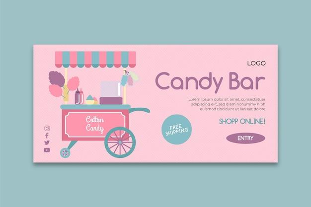 Modèle De Bannière D'entreprise Candy Bar Rose Vecteur gratuit