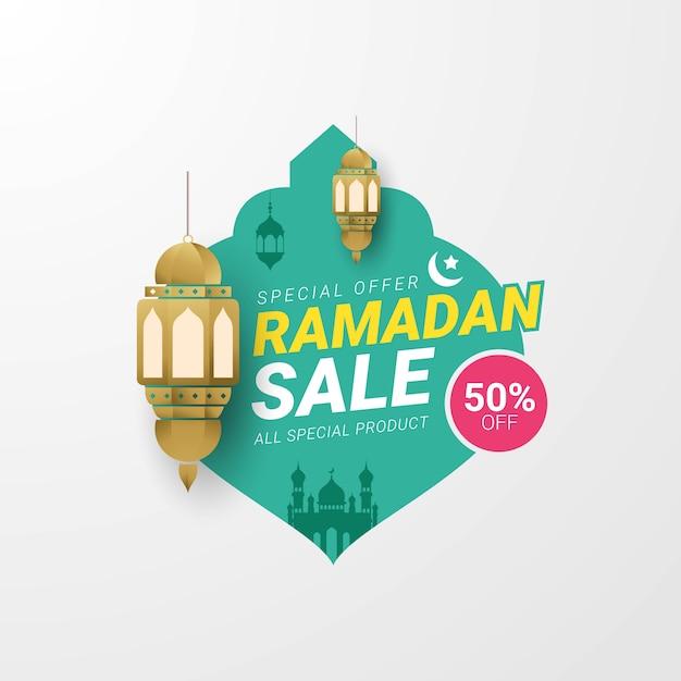 Modèle De Bannière D'étiquette De Vente De Ramadan Vecteur Premium
