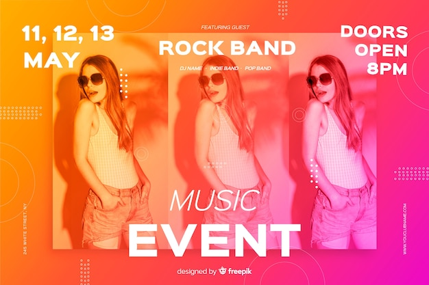 Modèle de bannière d'événement de musique avec photo Vecteur gratuit