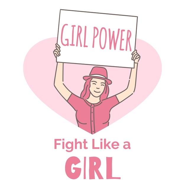 Modèle De Bannière De Féminisme. Activiste, Girl Power, Combattez Comme Une Fille. Vecteur Premium