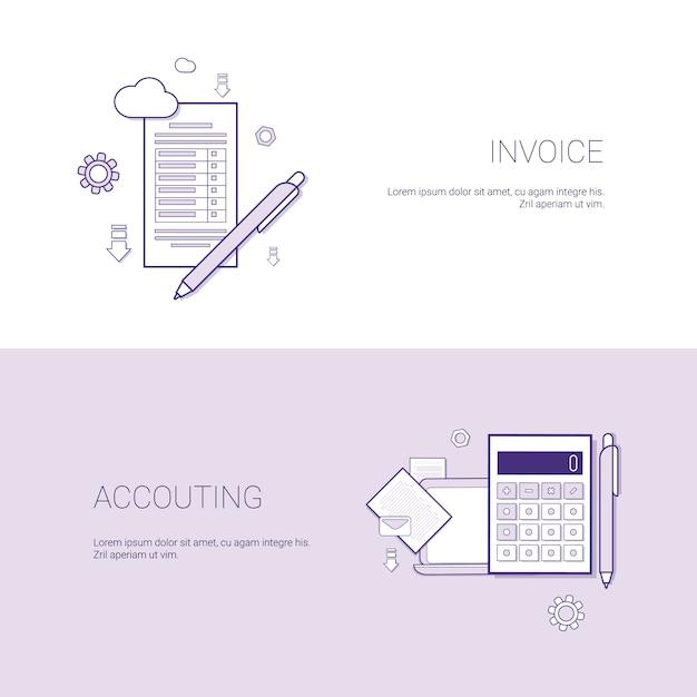 Modèle de bannière financière de facture et de comptabilité financière avec espace de copie Vecteur Premium