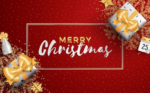 Modèle De Bannière Ou Flyer De Médias Sociaux De Joyeux Noël Mise En Page. Vecteur Premium