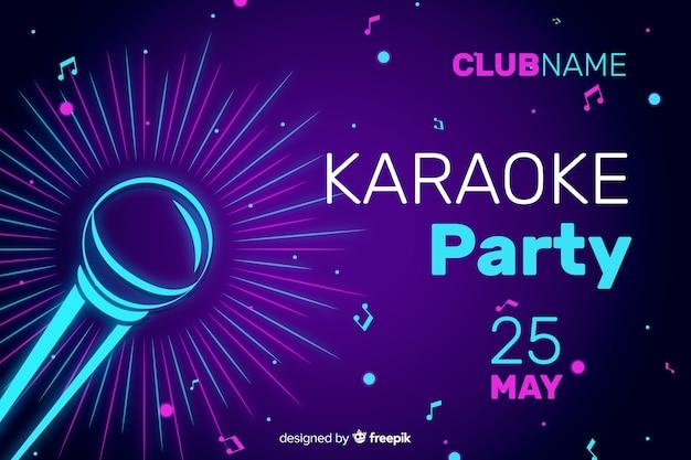 Modèle de bannière ou de flyer de soirée karaoké Vecteur gratuit