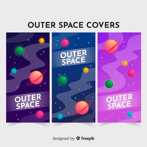 Modèle de bannière de galaxie dessiné main coloré Vecteur gratuit