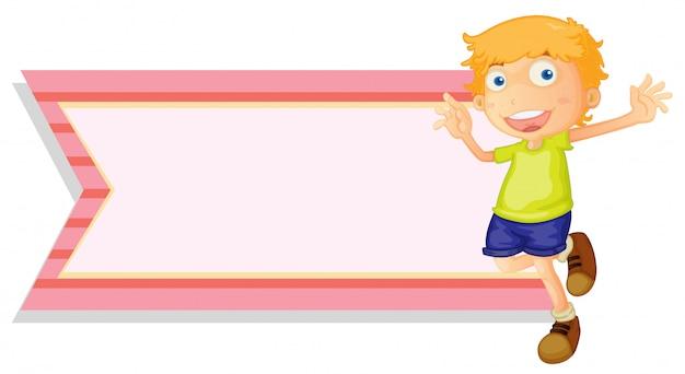 Modèle de bannière avec garçon heureux Vecteur gratuit