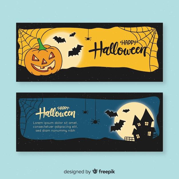 Modèle de bannière halloween design dessiné à la main Vecteur gratuit