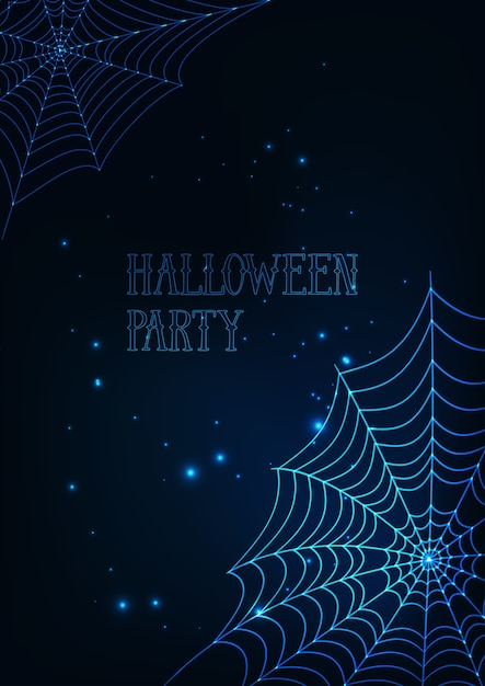Modèle De Bannière Halloween Avec Des Toiles D'araignée Rougeoyante Sur Fond Bleu Foncé. Vecteur Premium