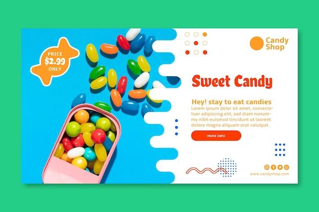 Modèle De Bannière Horizontale De Bonbons D'amour Vecteur gratuit