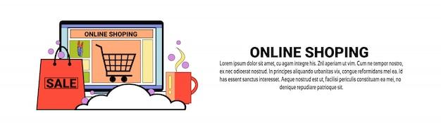 Modèle de bannière horizontale de concept de commerce électronique de magasinage en ligne Vecteur Premium