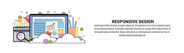 Modèle de bannière horizontale de concept de design réactif Vecteur Premium