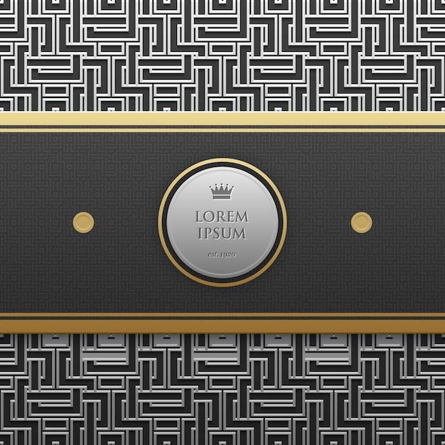 Modèle De Bannière Horizontale Sur Fond Métallique Argent / Platine Avec Motif Géométrique Sans Soudure Vecteur Premium