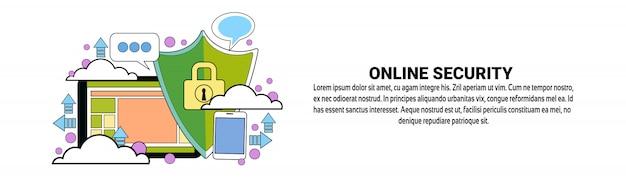 Modèle de bannière horizontale pour le concept de protection des données en ligne en ligne Vecteur Premium