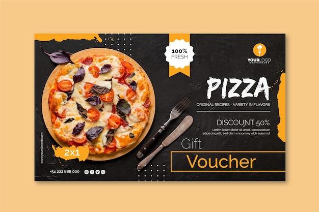 Modèle De Bannière Horizontale Pour Pizzeria Vecteur Premium