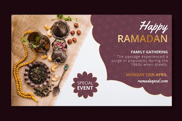 Modèle De Bannière Horizontale De Vente Ramadan Vecteur gratuit