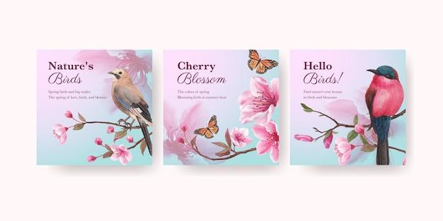 Modèle De Bannière Avec Illustration Aquarelle De Fleur Oiseau Concept Design Vecteur Premium