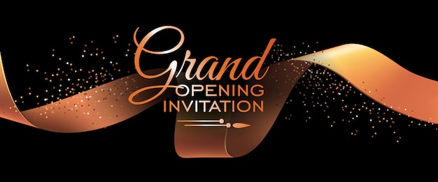 Modèle de bannière invitation grande ouverture avec ruban d'or Vecteur gratuit