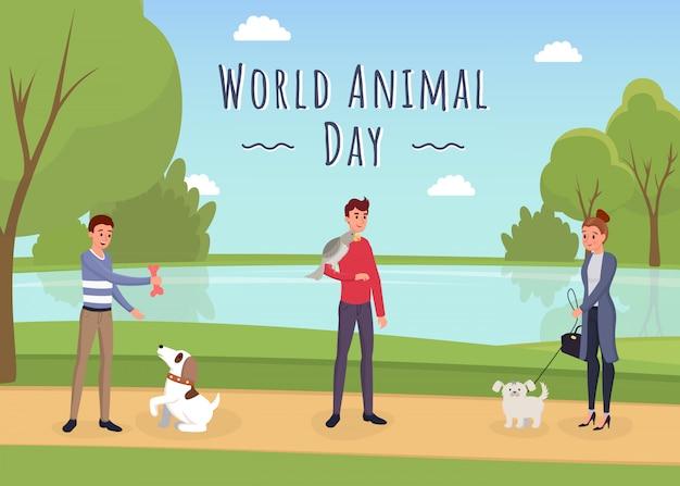 Modèle de bannière de la journée mondiale des animaux Vecteur Premium