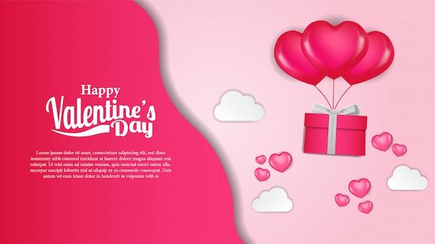 Modèle de bannière de jours valentine Vecteur Premium