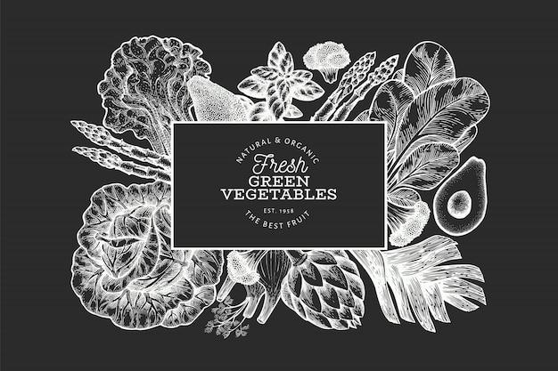 Modèle De Bannière De Légumes Verts Dessiné à La Main. Vecteur Premium